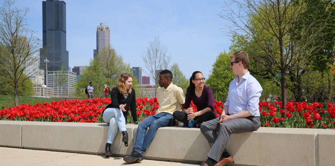 Students at Millennium Park