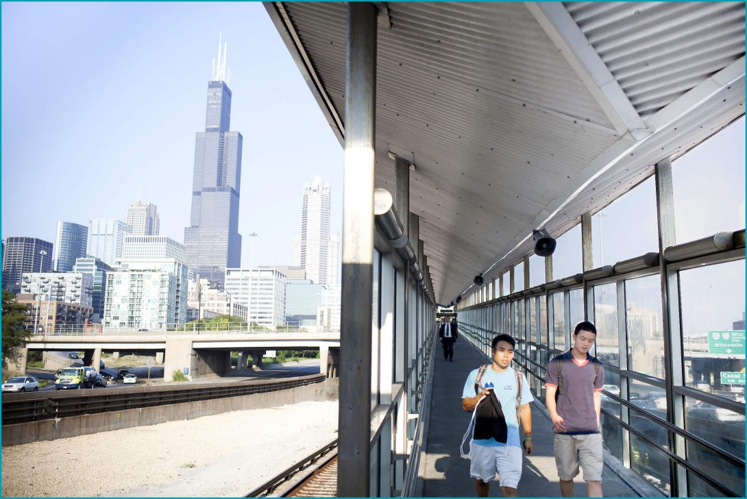 Students at UIC train stop