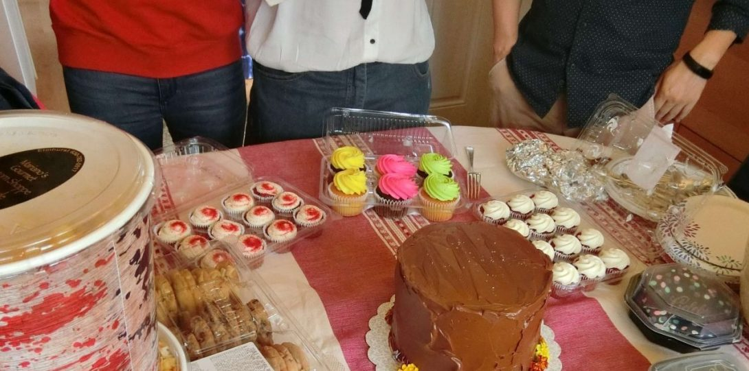 Potluck party with cake