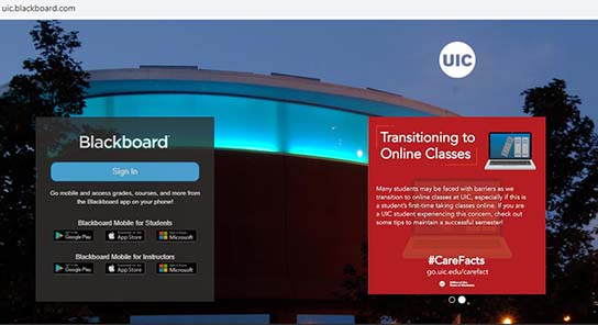 UIC Blackboard login page